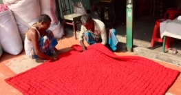 শীতের আগমনে বগুড়ায় লেপতোষক তৈরিতে ব্যাস্ত ধনকুড়রা
